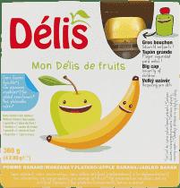 DÉLIS 100% ovocné pyré jablko-banán (4x90g) - ovocný příkrm