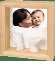 BABY ART Ramka na odcisk rączki lub nóżki 3D Photo Sculpture Frame Natural