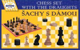 DETOA Šach + dáma z dreva spoločenská hra