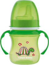 CANPOL Babies Tréninkový hrníček EasyStart zvířátka 120ml – zelená