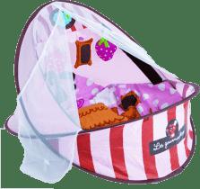 LUDI Cestovná postieľka / deka s hrazdou - ružová