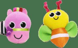 SASSY Chrastítka na ruku – růžovo-žluté