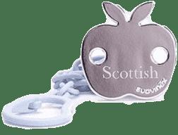 SUAVINEX Scottish łańcuszek na smoczek z klipsem różowy – jabłko