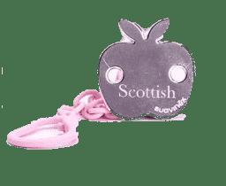 SUAVINEX Scottish řetízek na dudlík s klipem růžový - jablko