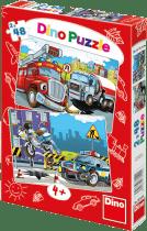 DINO Puzzle Planszowe Straż pożarna i Policja 2x48szt