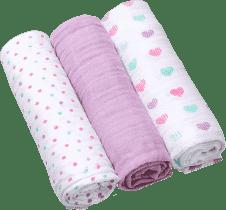 BABY ONO Pieluszki muślinowe Super soft, 3 szt. - fioletowe