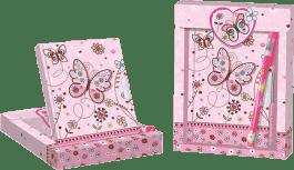 BINO Diář se zámkem a propiskou - motýl