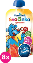 8x HAMÁNEK Svačinka 100% ovoce s jahodami, (120g)