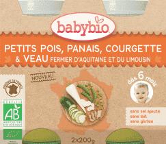 BABYBIO menu hrášok a paštrnák s cuketou a teľacím mäsom 2x200g