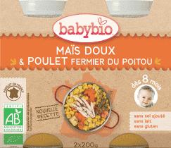 BABYBIO menu Skládky kukurice s kuracím mäsom 2x200g