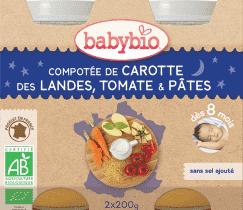 BABYBIO večerné menu mrkva a paradajky s cestovinami 2x200g