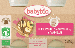 BABYBIO príkrm jablko vanilka 2x130g