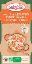 BABYBIO menu zelenina s morčacím mäsom a ryžou 2x200g