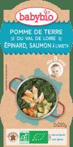 BABYBIO menu zemiaky a špenát s lososom a ryžou 2x200g