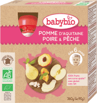 BABYBIO kapsička jablko hruška broskyňa 4x90g