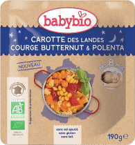 BABYBIO večerní menu mrkev s máslovou dýní a polentou 190g