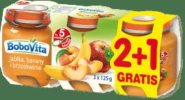 3x BOBOVITA Jabłka banany i brzoskwinią (125g)