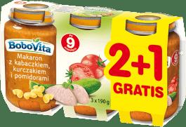 3x BOBOVITA Makaron z kabaczkiem, kurczakiem i pomidorami (190g)