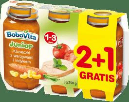 3x BOBOVITA Kluseczki z warzywami i indykiem (250g)