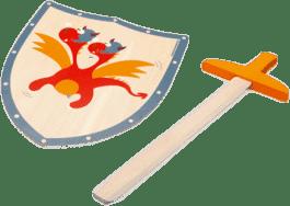 SCRATCH Drevený meč a štít Červený drak