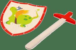SCRATCH Drewniany miecz i tarcza smok zielona