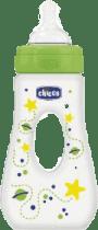 CHICCO Láhev Travel PP, 240ml, silikonový dudlík., 0m+, planetky, zelená