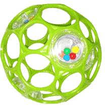 BRIGHT STARTS Hračka/Hrkálka OBALL RATTLE 10 cm, 0m+ (zelená)