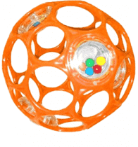 BRIGHT STARTS Hračka/Hrkálka OBALL RATTLE 10 cm, 0m+ (oranžová)