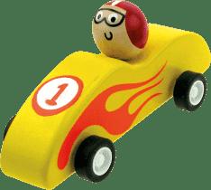 BINO Dřevěné autíčko se setrvačníkem, žluté