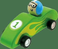 BINO Dřevěné autíčko se setrvačníkem, zelené