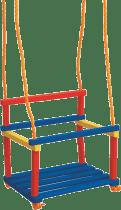 WOODY Drewniana huśtawka z barierką - kolorowa (do 30 kg)