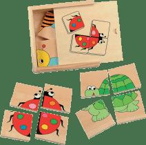 WOODY Minipuzzle drewniane zwierzątka w pudełku