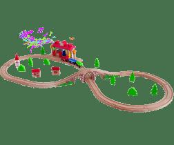 WOODY Kolejka Ósemka z dźwiękowym dworcem kolejowym