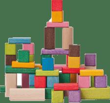 WOODY Kocky farebné, 50 dielov, 2,5 x 2,5 x 2,5 cm