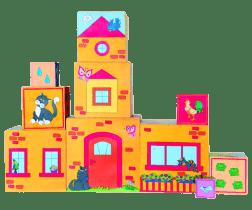 WOODY Skladacia veža z 10 kociek, 5 motívov