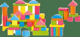 WOODY Zestaw drewnianych klocków pastelowych, 75 elementów