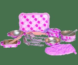 WOODY Różowe naczynia z rękawicą – Trendy