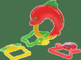 BABY'S HAPPINESS Chrastítko delfín - červené