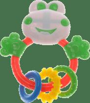 BABY'S HAPPINESS Grzechotka żabka z okrągłymi gryzaczkami – biała