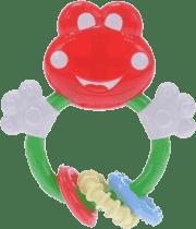 BABY'S HAPPINESS Grzechotka żabka z okrągłymi gryzaczkami – czerwona