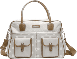 BEBE-JOU Luxusná prebaľovacia taška Natural krémové bodky
