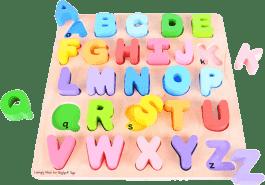 BIGJIGS Drewniana motoryczna gra edukacyjna Alfabet