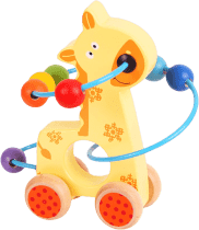 BIGJIGS Motorické hračky - Motorický labyrint na kolieskach - žirafa