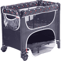 PATRON Skladacia postieľka pre novorodenca Maia - čierna / motýľ