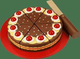 BIGJIGS Drevený krájacie čokoládovú tortu