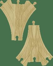 BIGJIGS Drevené koľaje vláčikodráhy - Trojcestná výhybka - 2ks
