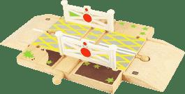 BIGJIGS Drevené autodráhy - Železničné priecestie so závorami