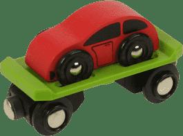 BIGJIGS Vagonek vláčkodráhy - Vagon s autem + 2 koleje