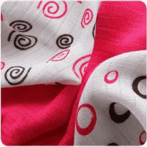 KIKKO Bambusowe chusteczki Spirals&Bubbles 30x30 (9 szt.) – magenta