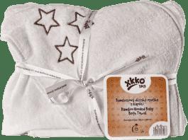 KIKKO Bambusová osuška s kapucňou 90x90 - natural brown stars